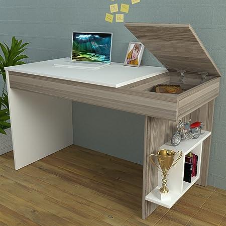 hidden office desk. HIDDEN Bureau White / Avola - Computer Workstation Home Office Desk Writing Table With Hidden S