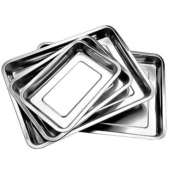 Bandejas de gran calidad, acero inoxidable, para verduras y barbacoa, 4,8