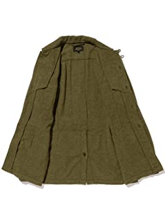 Blended Wool Linen Military Utility Jacket 11-18-5544-139: Olive