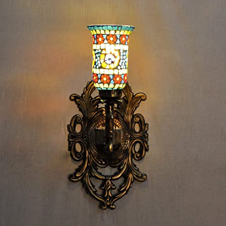 Amazon.com: Lalhaveli - Lámpara de pared de cristal mosaico ...