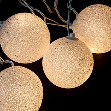set of 6 shimmering white lighted twinkling sphere party patio wedding christmas lights white wire