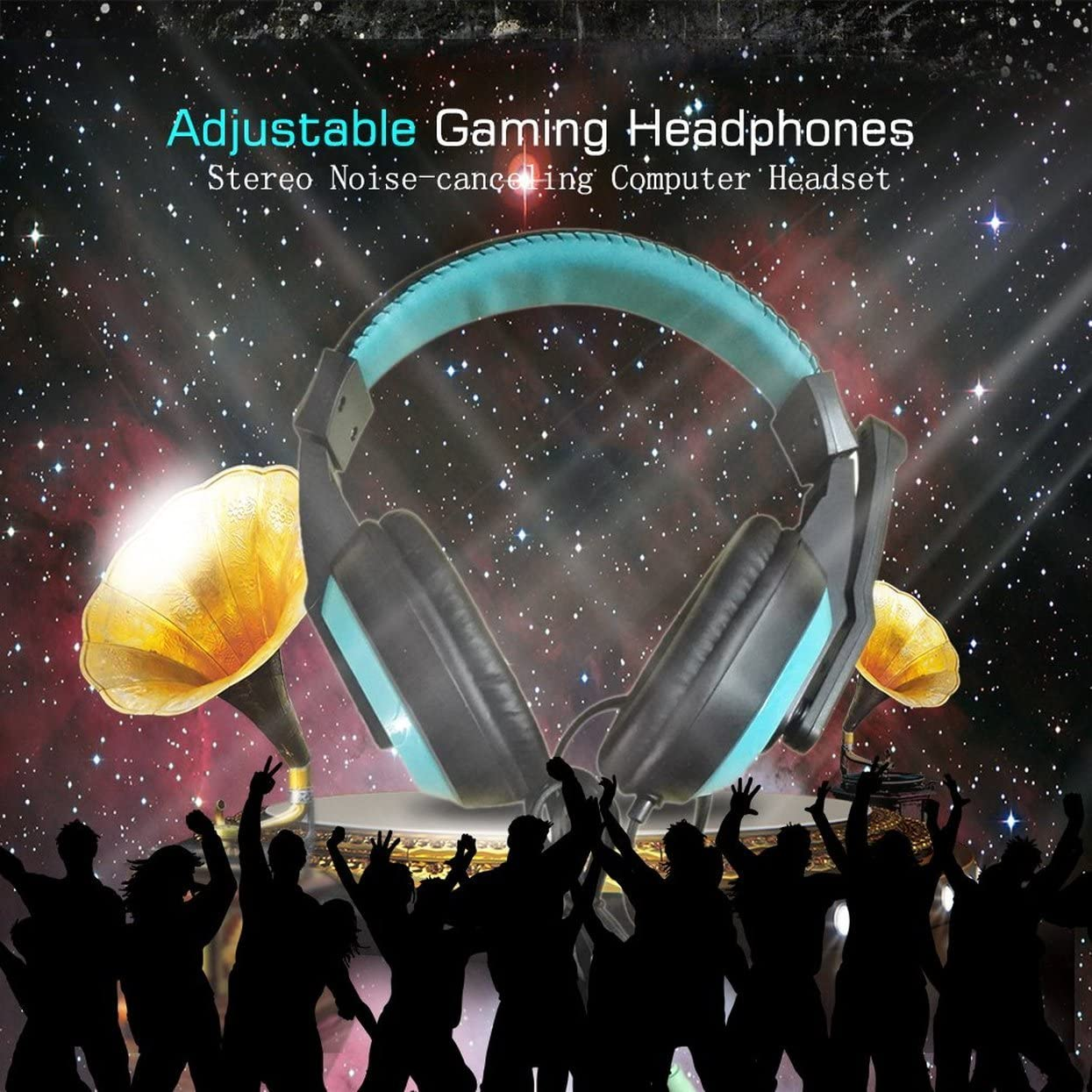 mymerlove 3.5mm Adjustable Gaming Headphones Stereo Noise-canceling Computer Headset