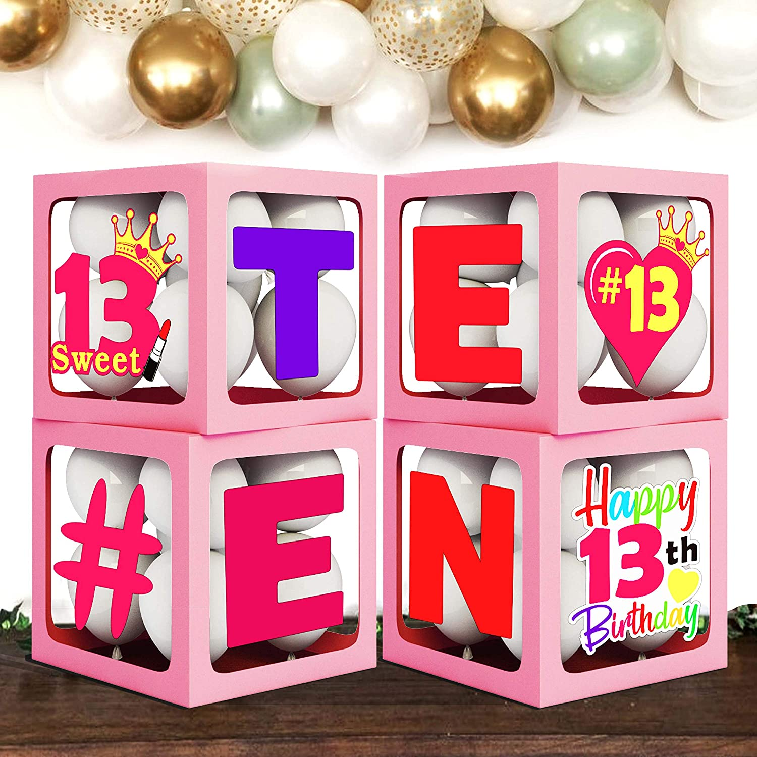 Pink Official Teenager Balloons Boxes Party Decorations Set of 4 Pcs Boxes 13th Birthday Theme Thirteen Years Old Party Supplies