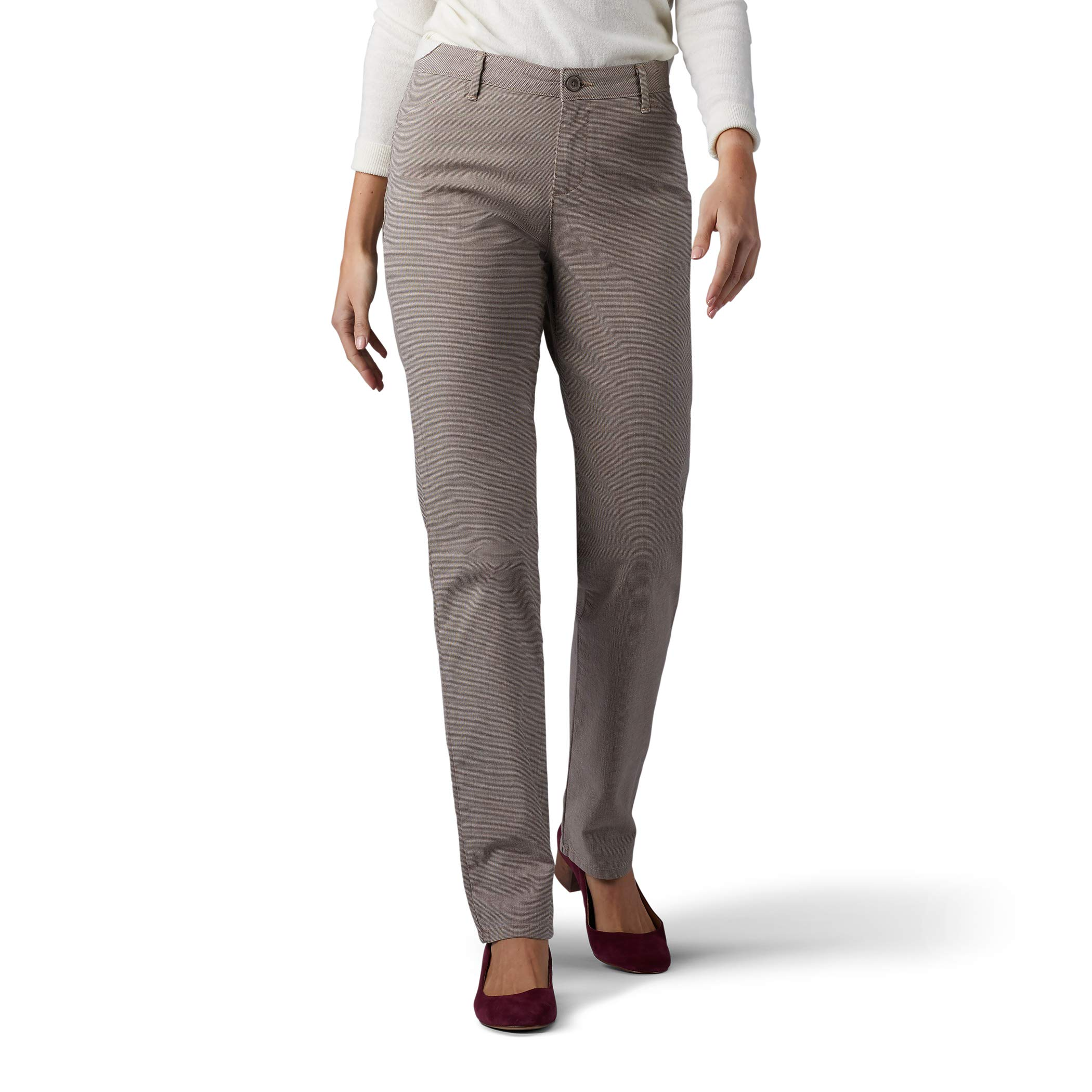 LEE Women's Relaxed Fit All Day Straight Leg Pant, deep breen micro check, 12 Short