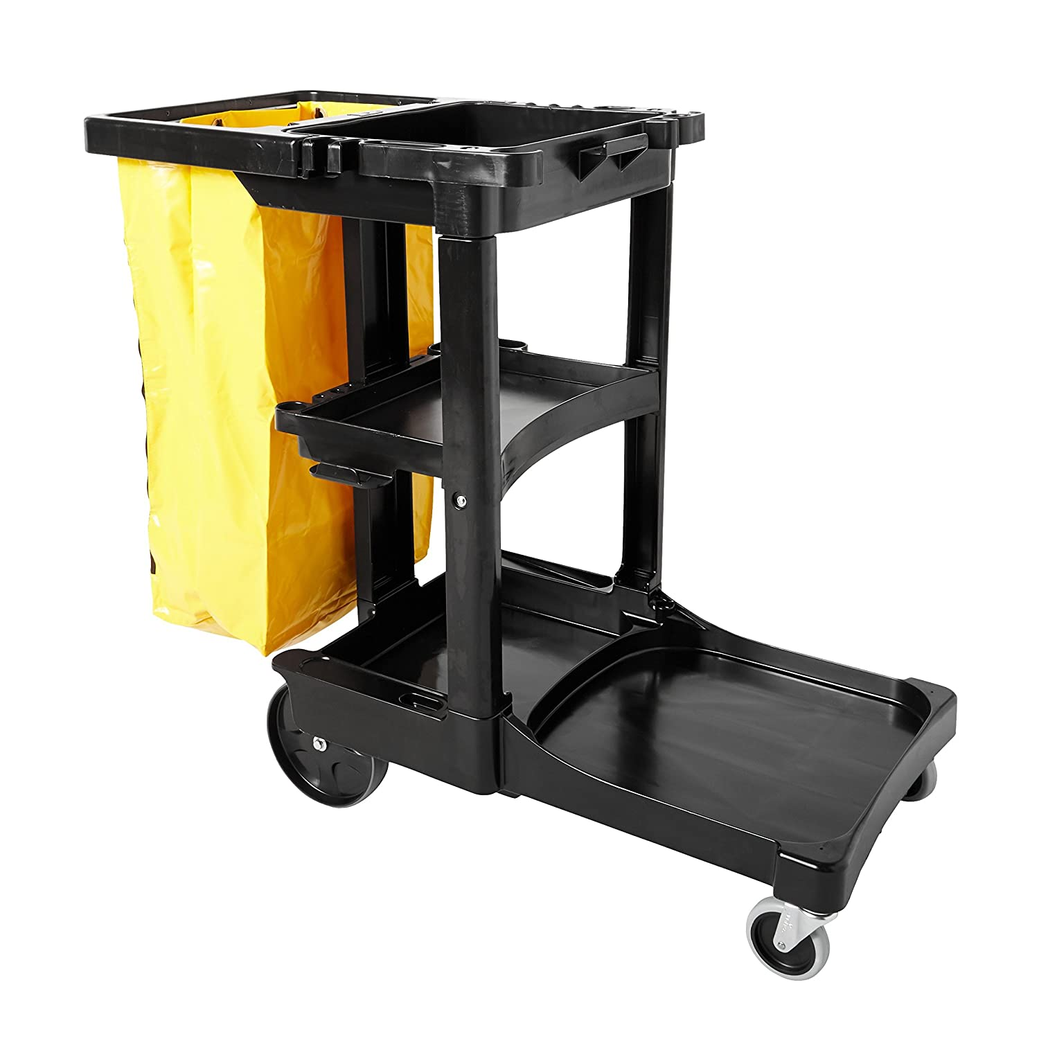 Rubbermaid Commercial Housekeeping 3-Shelf Cart with Zippered Yellow Vinyl  Bag, Black, FG617388BLA: Utility Carts: Amazon.com: Industrial & Scientific