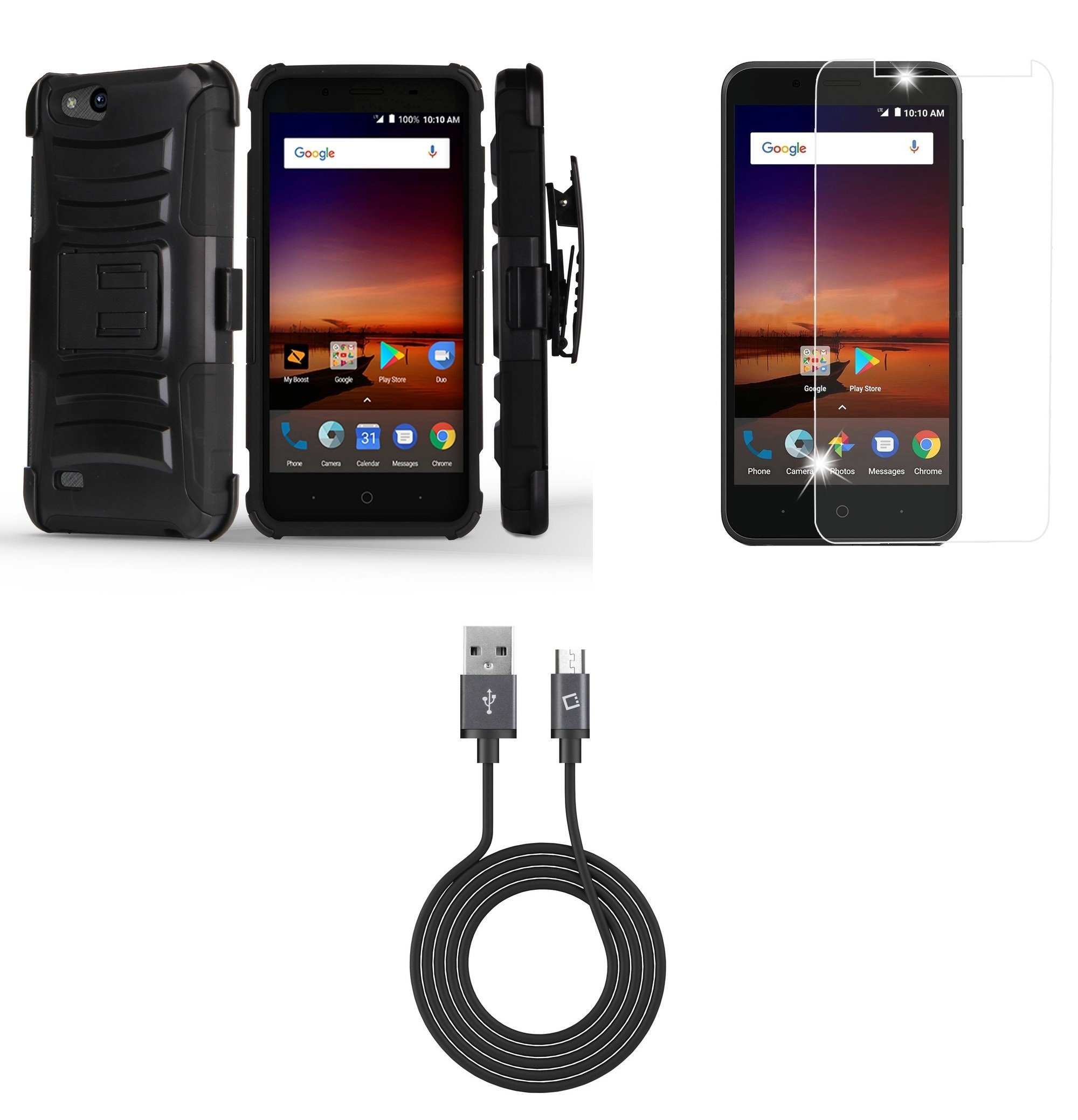 ZTE ZFive C LTE Z558VL - Bundle: Dual Layer Rugged Kickstand Belt Holster Case (Black), Tempered Glass Screen Protector, Micro USB Data Sync Charger Cable (3.3 Feet), Atom Cloth