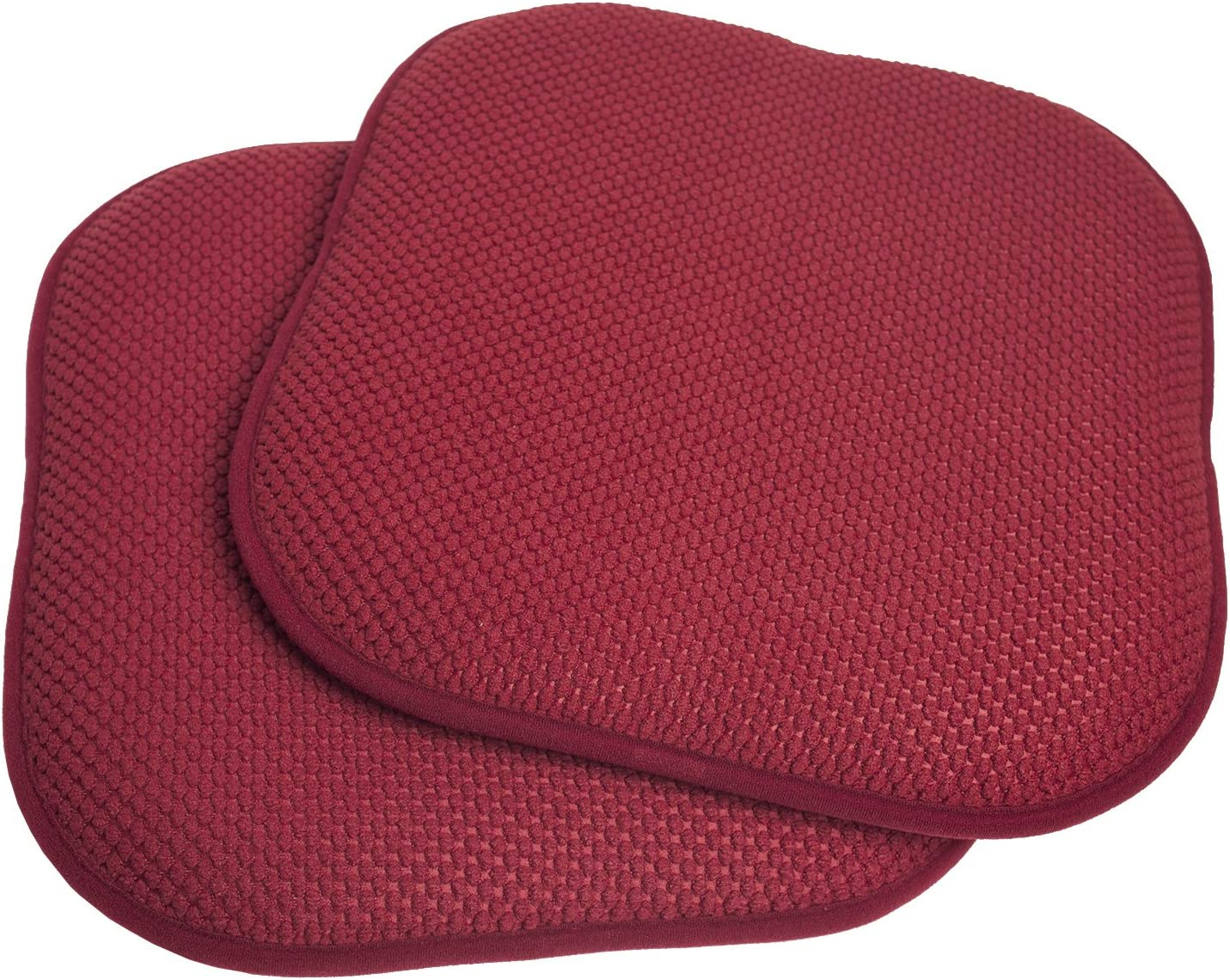 Sweet Home Collection Memory Foam Honeycomb Nonslip Back Chair/Seat Cushion Pad (2 Pack), 16 x16, Wine