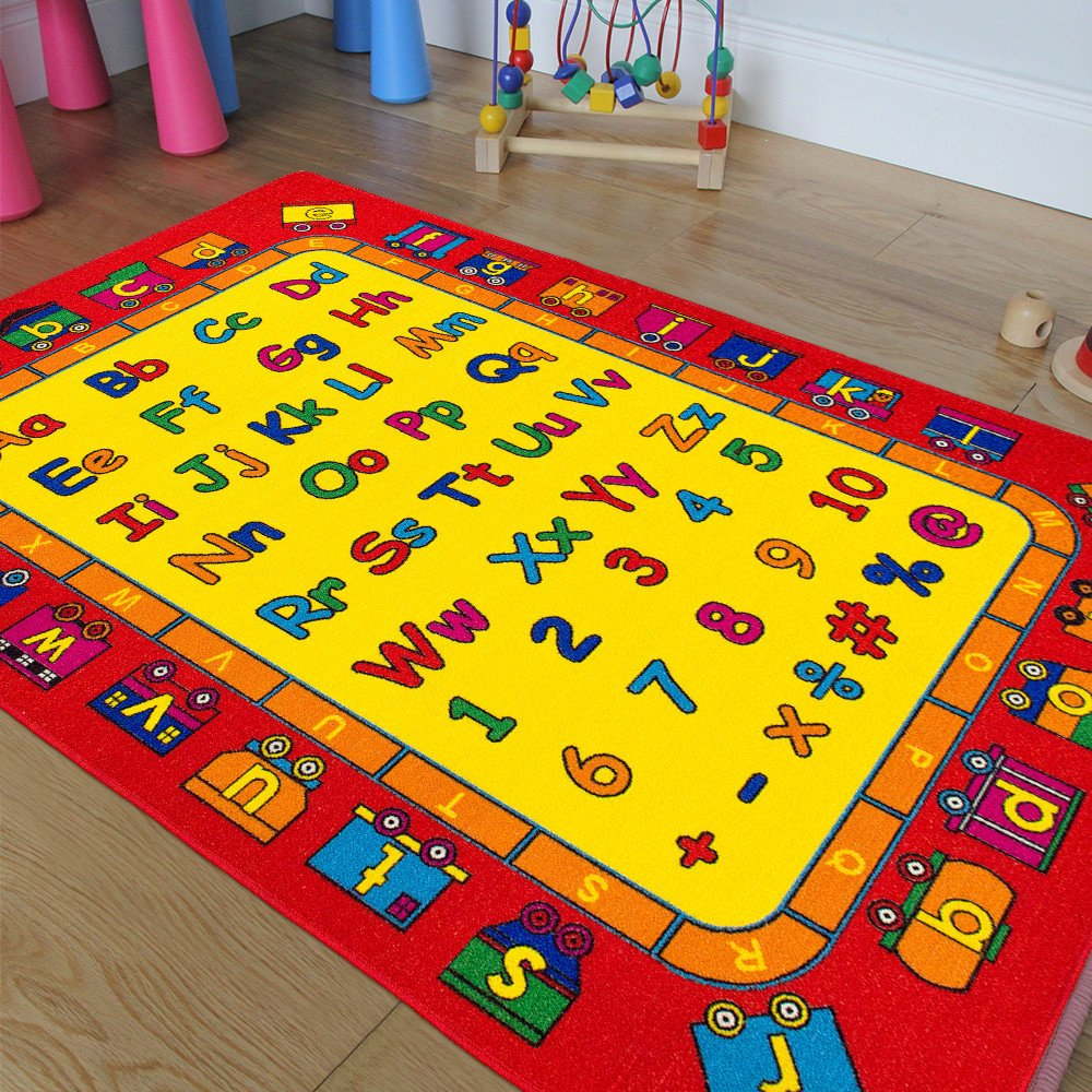 Kids / Baby Room / Daycare / Classroom / Playroom Area Rug. ABC's Alphabet. Numbers. Train. Educational. Fun. Non-Slip Gel Back. Bright Colorful Vibrant Colors (8 Feet X 10 Feet)