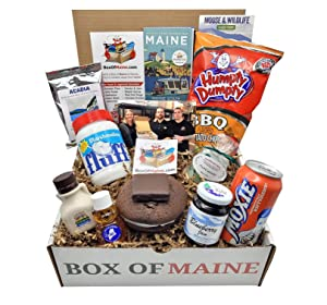 Box of Maine Gifts - 10-item Gift Pack - Whoopie Pie, Fluff, Moxie Soda, Maine Maple Syrup,Blueberry Honey, Humpty Dumpty BBQ Chips, Needhams Chocolate, Coffee, Maine Blueberry Jam, Maine Woods Candle