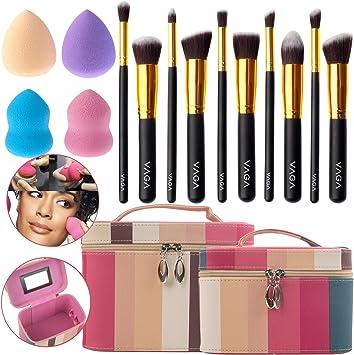 VAGA 2 Organizadores de maquillaje profesional y 10 brochas de maquillaje y 4 esponjas blenders, neceser para mujer cosmetiquera con brochas de make up, estuche brochas, pinceles, accesorios belleza: Amazon.es: Belleza