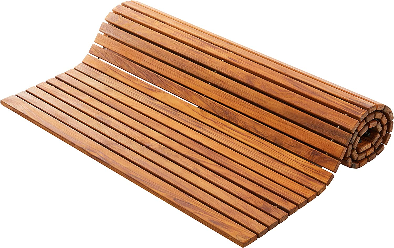 Bare Decor 3 by 5' Oskar String Spa Shower Mat/Rug, X-Large, Solid Teak Wood Oiled Finish