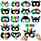 WATINC 32Pcs Scratch Paper Animal Masks, DIY Rainbow Color Mask for Magic Scratch Party Favors, Birthday Gifts Pack for…