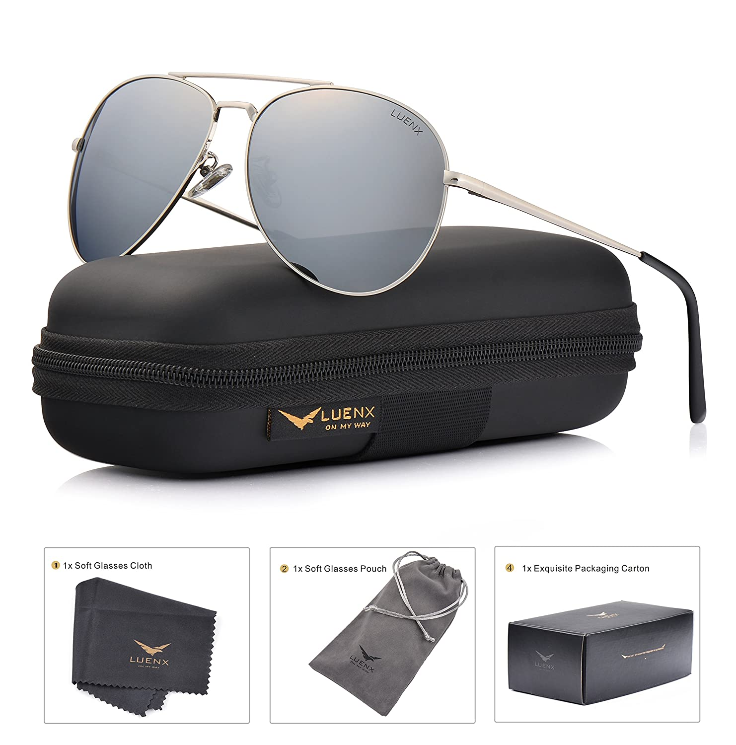 LUENX Aviator Sunglasses Polarized Mens Womens with Case - UV 400 Protection 60mm CA1704-17