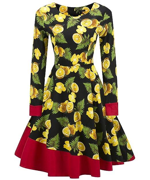 Santimon Vestido Floral Vintage 50s para Mujer Patchwork de Manga Larga Vestido de Fiesta en el Jardín: Amazon.es: Ropa y accesorios
