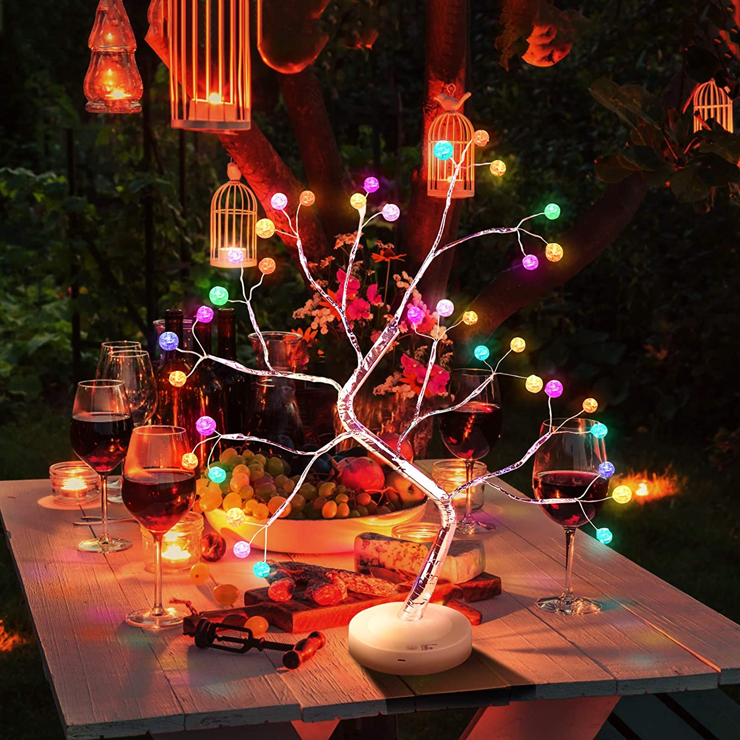 Bonsai Tree Light, DIY LED Desk Tree Lamp with Remote Control 16 Color 36 LED Crack Shaped lamp Adjustable Branches Desk Table Decor for Christmas Party Home Decoration (Battery/USB Operated)