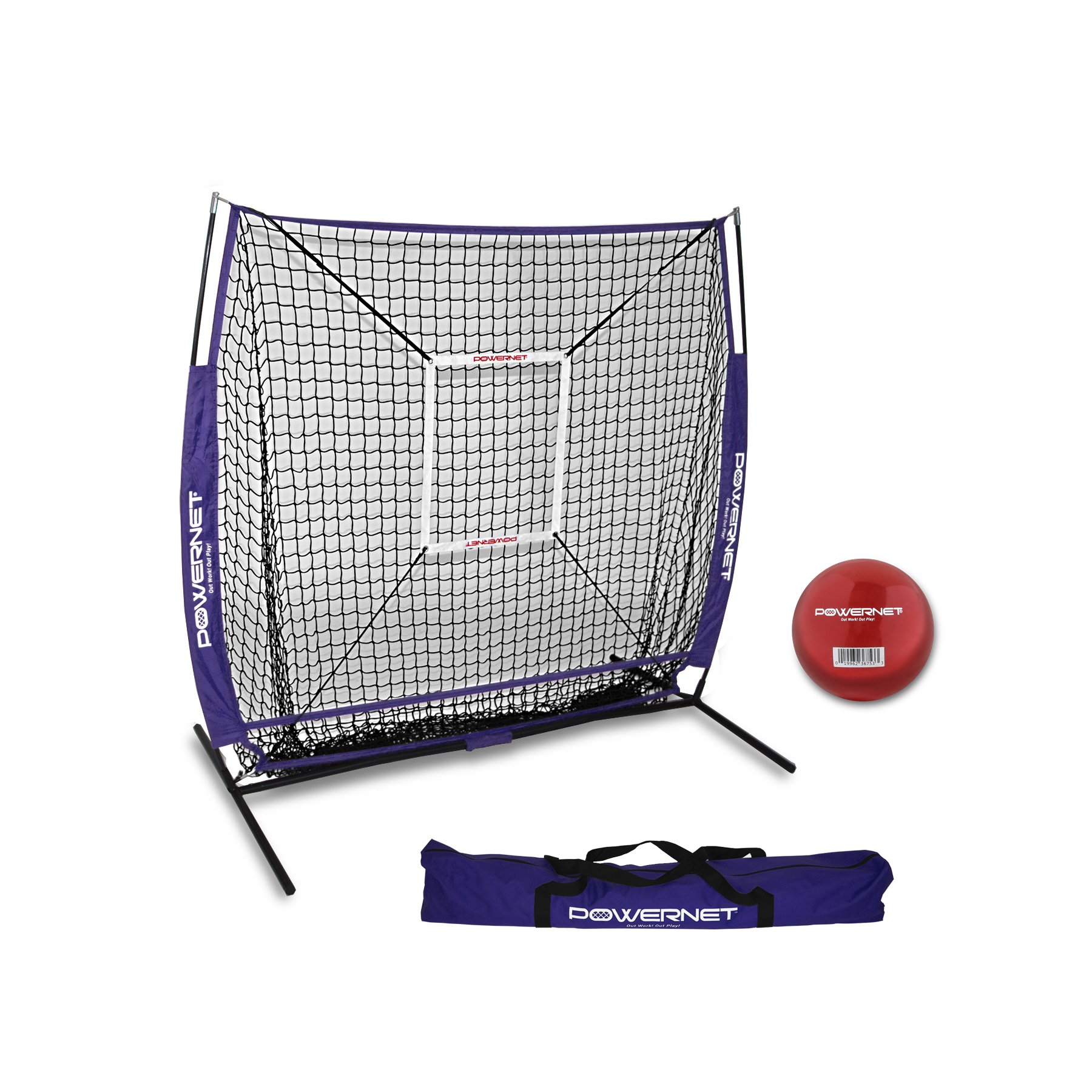 PowerNet 5x5 Practice Net + Strike Zone + Weighted Training Ball Bundle (Purple) | Baseball Softball Coaching Aid | Compact Lightweight Ultra Portable | Team Color | Batting Screen by PowerNet
