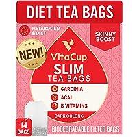 VitaCup? Slim Tea Bags 14ct w/ Oolong Tea & Acai Berry for Skinny Diet, Metabolism, Detox in Sealed Single Serve Tea…