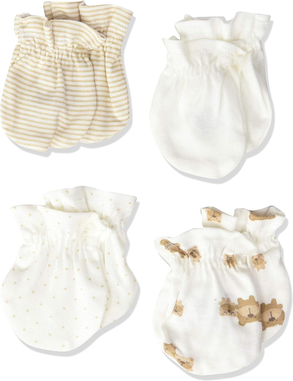 4 Pairs Newborn Baby//infant Anti-scratch Cotton Mittens Gloves---Leopard