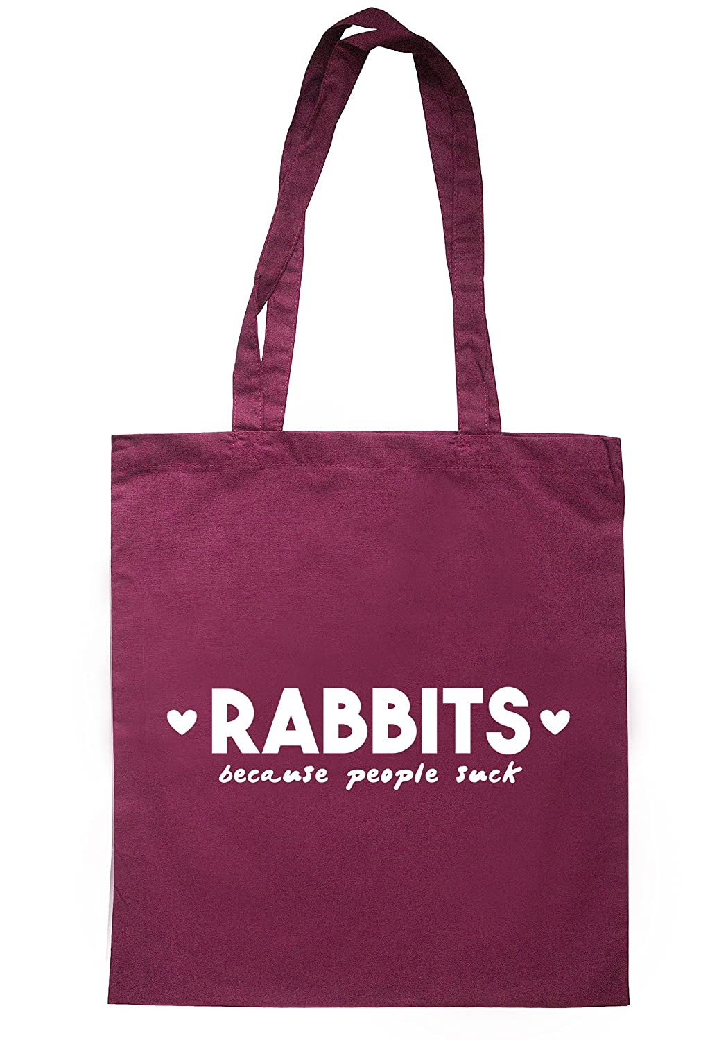 illustratedidentity Rabbits Because People Suck Tote Bag 37.5cm x 42cm with long handles TB1858-TB-NV