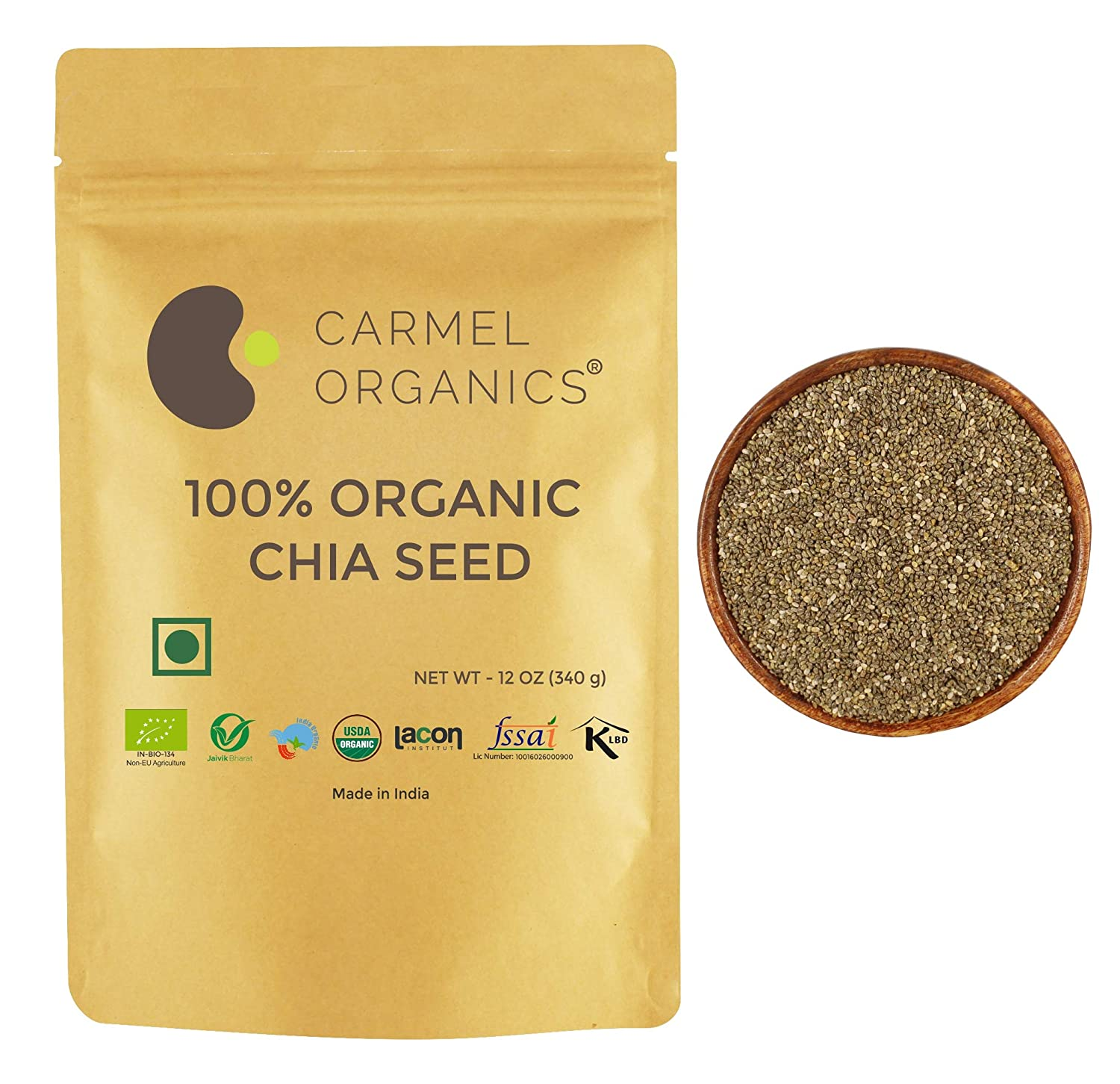 Organic Raw Chia Seeds | 12 Ounce | USDA Certified | Rich in fibers and protiens.