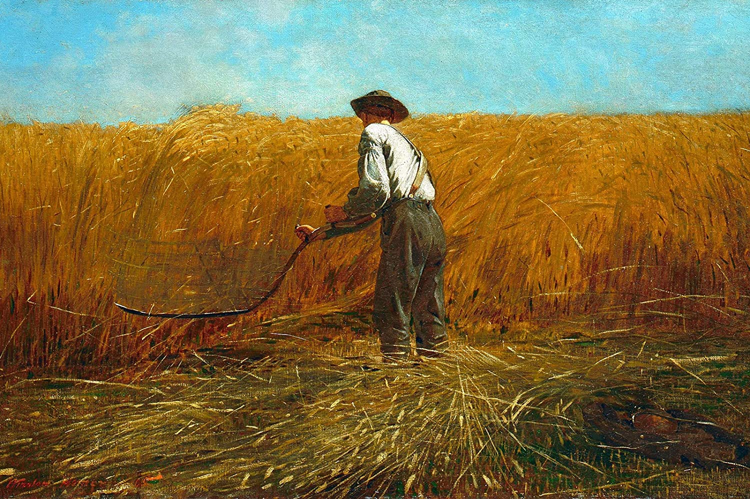 Winslow Homer - The Veteran in a New Field (1865) - Classic Painting Photo Poster Print Art Gift Wall Home Decor - Farming Post Civil War // Size: 12 x 8 Inches