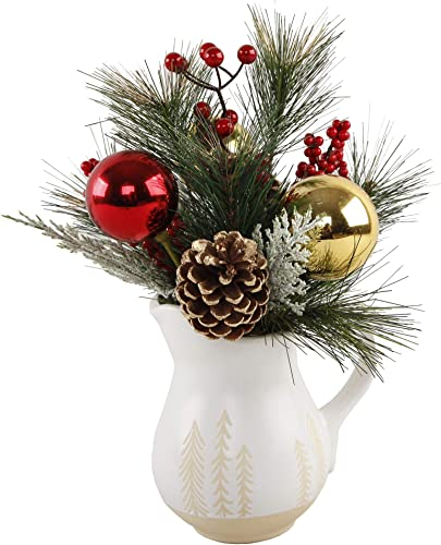 Ornament and Garland Mix in Ceramic Flower Vase Christmas Decoration