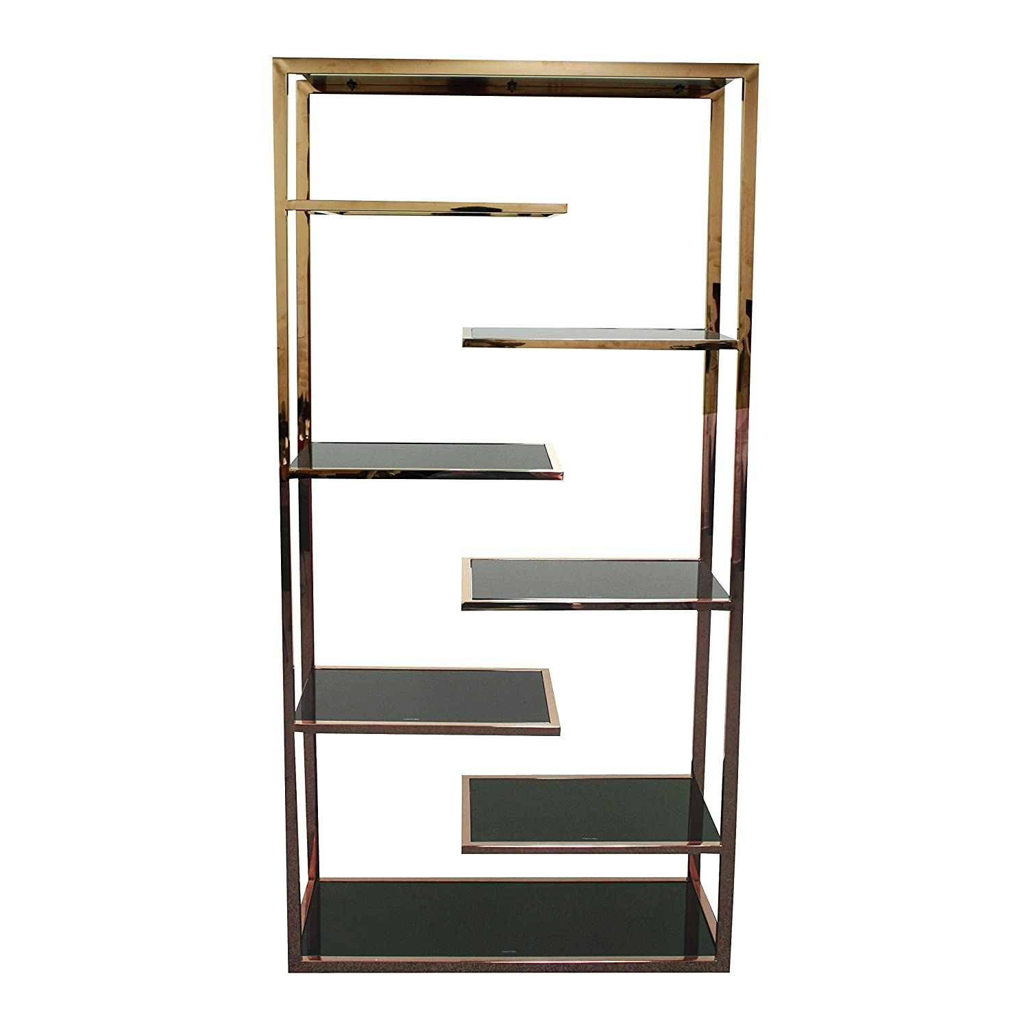 New Pacific Direct Guido 71\' Six Shelves Display Bookcase, Black Tempered Glass, Rose Gold 6000010