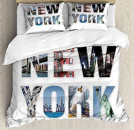 Copripiumino Come Si Usa.Set Copripiumino New York Lettere Della Citta Di New York