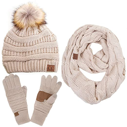 69f718b41f6 Image Unavailable. Image not available for. Color: ScarvesMe CC 3pc Set  Trendy Warm Chunky Soft Stretch Cable Knit Pom Pom Beanie, Scarves