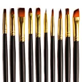 BEST QUALITY: Brush Set 10 Bespoke Gold Nylon Assorted Paint Brushes for Acrylics, Watercolor & Oil - Premium Value Soft Bristle Set in a Stylish Zip Carry Case