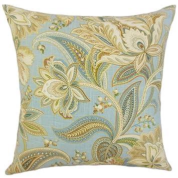 The Pillow Collection Gitana Floral Bedding Sham Blue Standard//20 x 26