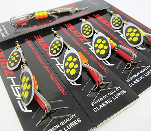 Fishzone 5 Pack of Quality Classic Treble 10cm Spinner Series Multiple Blade Size 0 1 2 3 4 Thunder - Silver Pike Perch Trout Black Bass Chub and Mackerel