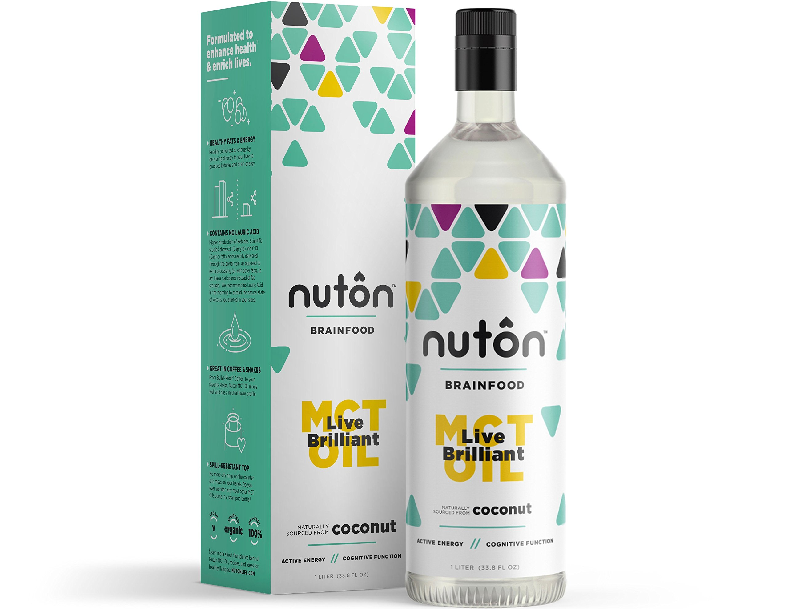 Ultra Premium MCT Oil by Nuton, C8 and C10 only Blend from Organic Coconuts - 33.8oz (1 Liter) | No C12 (Lauric Acid), Great for Keto Diet and Morning Coffee | Keto and Paleo Certified