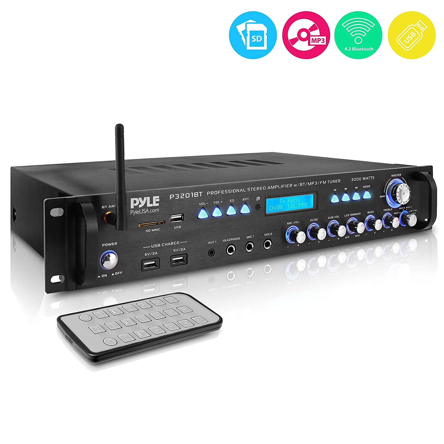 Multi Channel Bluetooth Preamplifier Receiver - 3000 Watt Audio Home Speaker Sound Stereo Receiver w/ Radio, USB, Headphone, AUX, RCA, Dual Microphone w/ Echo, LED, Wireless Streaming - Pyle P3201BT