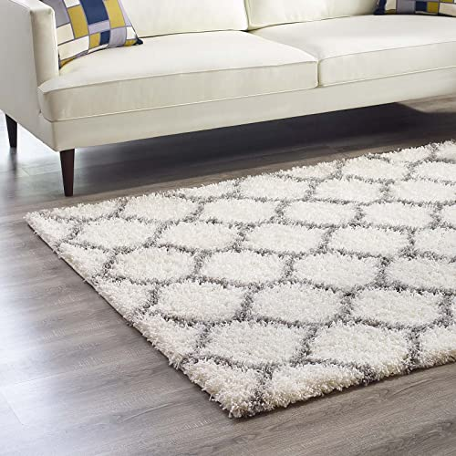 Modway Solvea Moroccan Trellis High Pile Shag 5×8 Area Rug With Lattice Design in Ivory and Gray