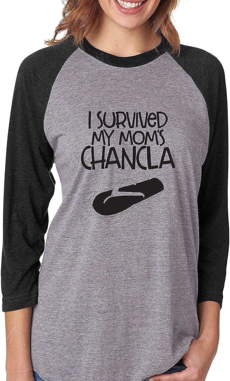 ZeroGravitee I Survived My Moms Chancla Unisex 3//4 Sleeve Baseball Raglan Tee