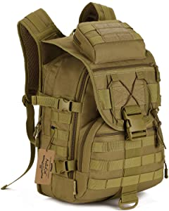 ArcEnCiel Camping Bags Waterproof Molle Backpack Military 3P Tad Tactical Backpack Assault Travel Bag for Men Cordura -Rain Cover Included