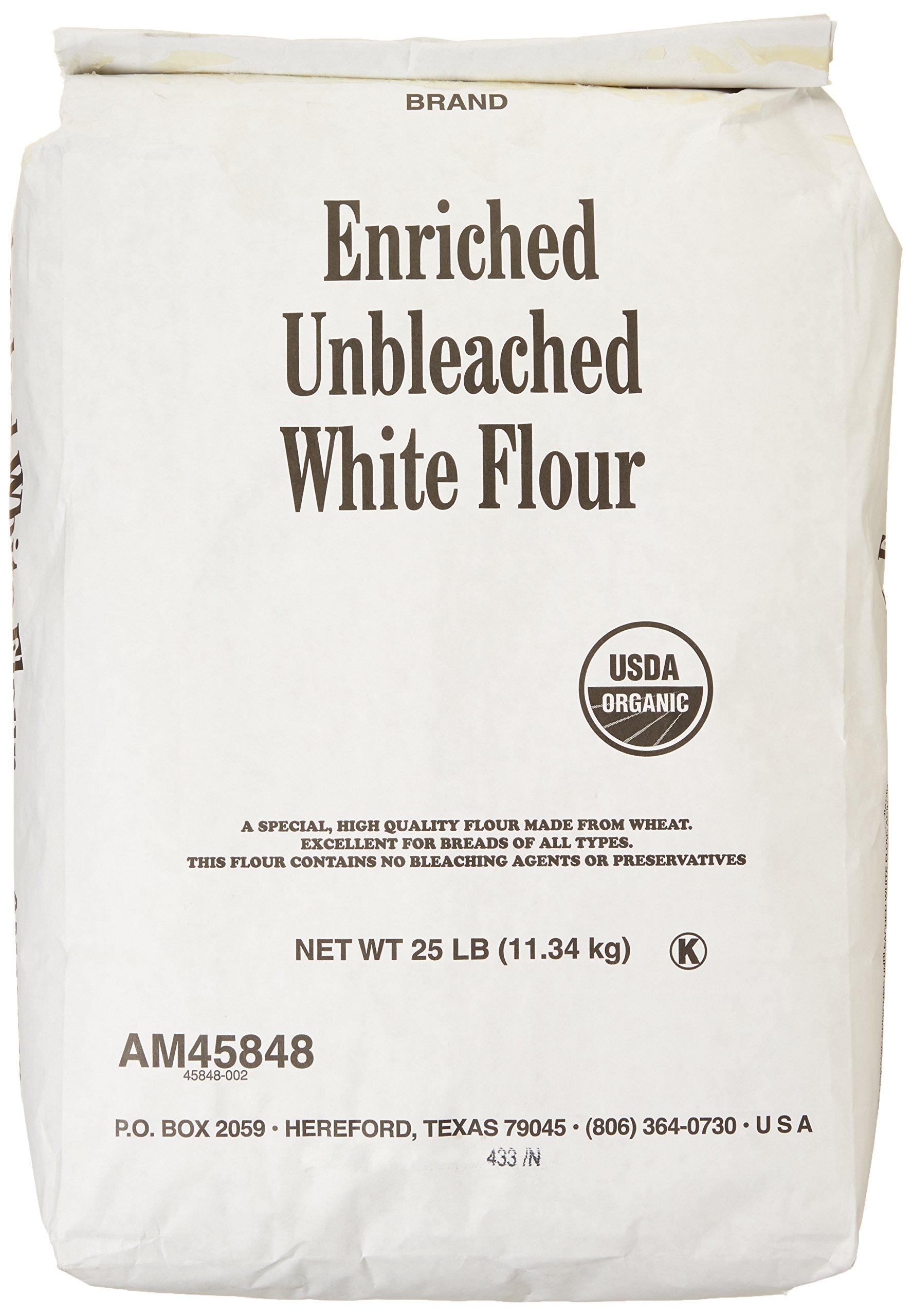 Arrowhead Mills Flour, Unbleached White, 95% Organic, 25 Pound Package