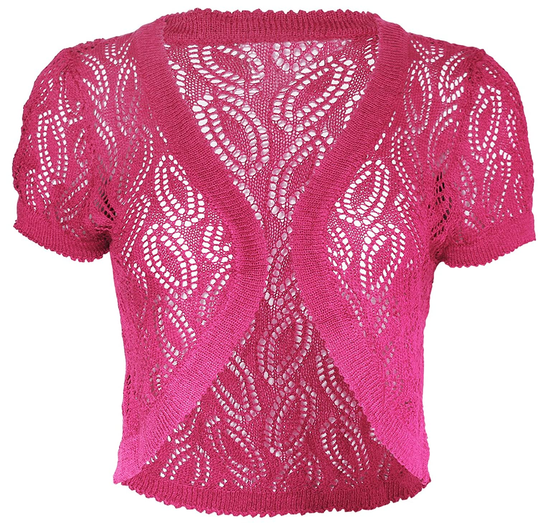 KMystic Short Sleeve Knitted Crochet Shrug Bolero Crop Top