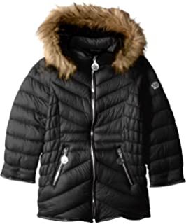a9261a3ef Amazon.com: DKNY Girls Hooded Faux Fur Puffer Jacket, Black, Large ...