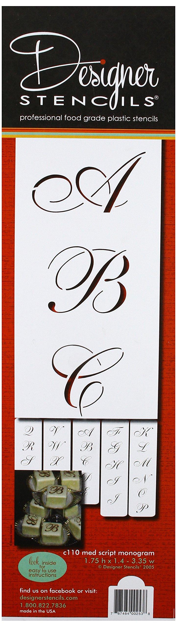 Designer Stencils C110 1.75 Inch Script Monogram foodgrade stencil, 1.75 x 1.4-3.35