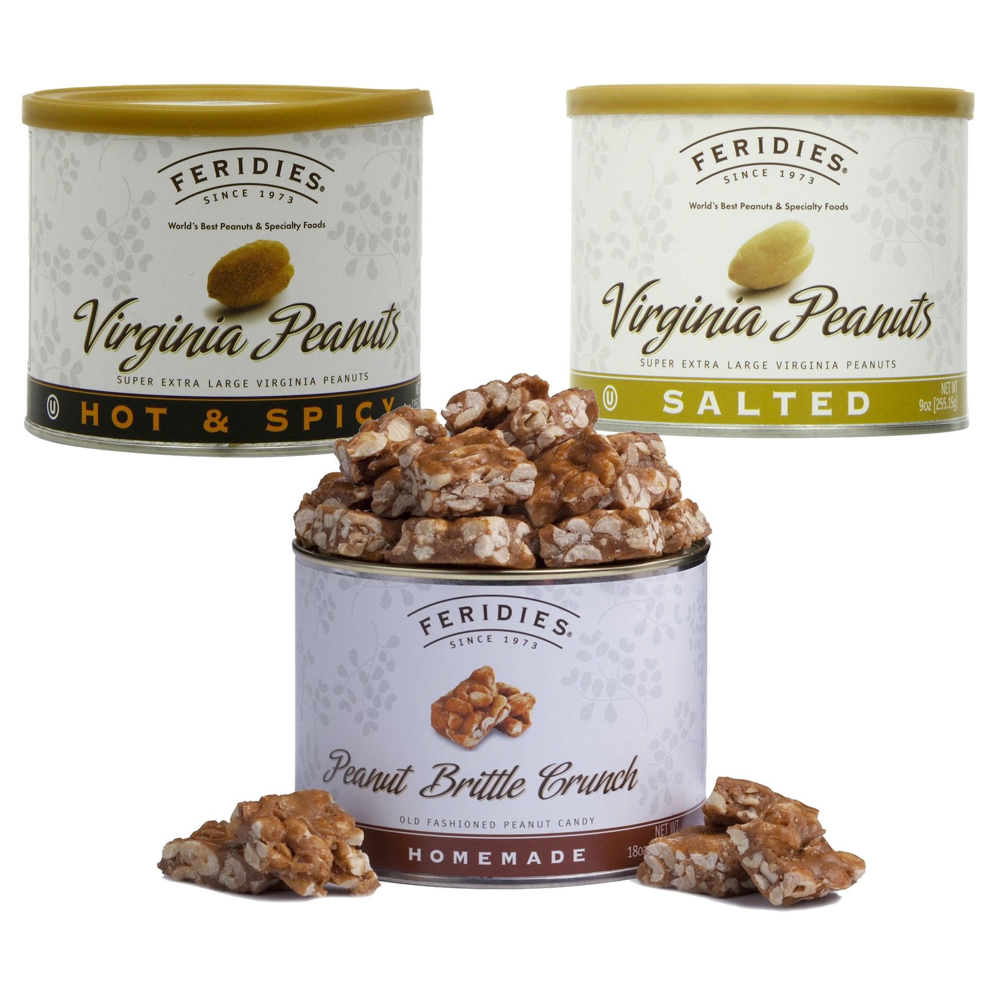 3-pack Variety Set of Extra Large Salted Virginia Peanuts, Hot & Spicy Peanuts and Feridies Famous Peanut Brittle