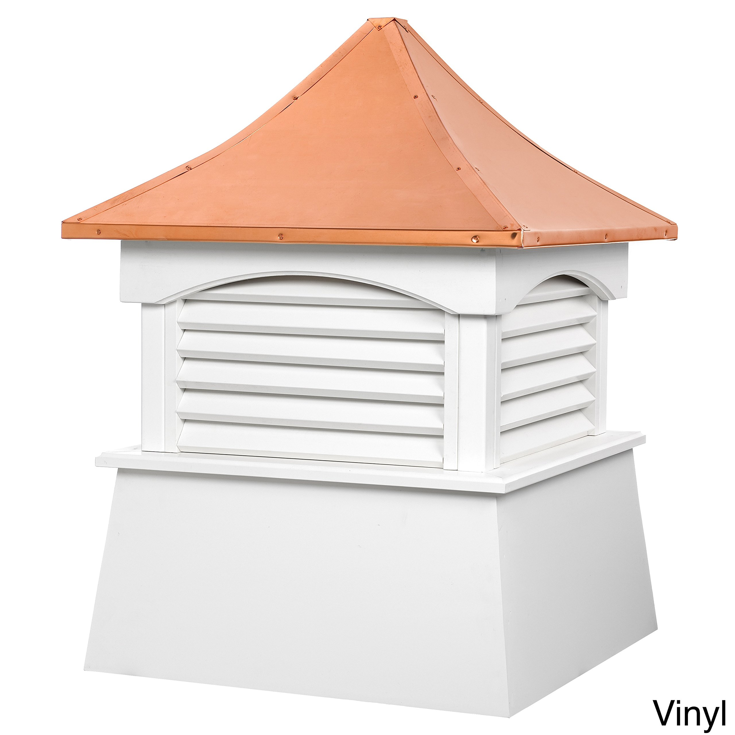 Good Directions Vinyl Coventry Louvered Cupola with Pure Copper Roof,  Maintenance Free Solid Cellular PVC Vinyl, 18'' x 24'', Quick Ship, Reinforced Roof and Louvers, Cupolas by Good Directions