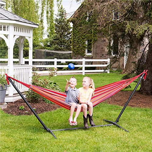 Viewee Portable Hammock with 9 FT Stand Space Saving, Heavy Duty Hammock Stands Includes Portable Carrying Case for Outdoor or Indoor Instructions are Printed on The Box