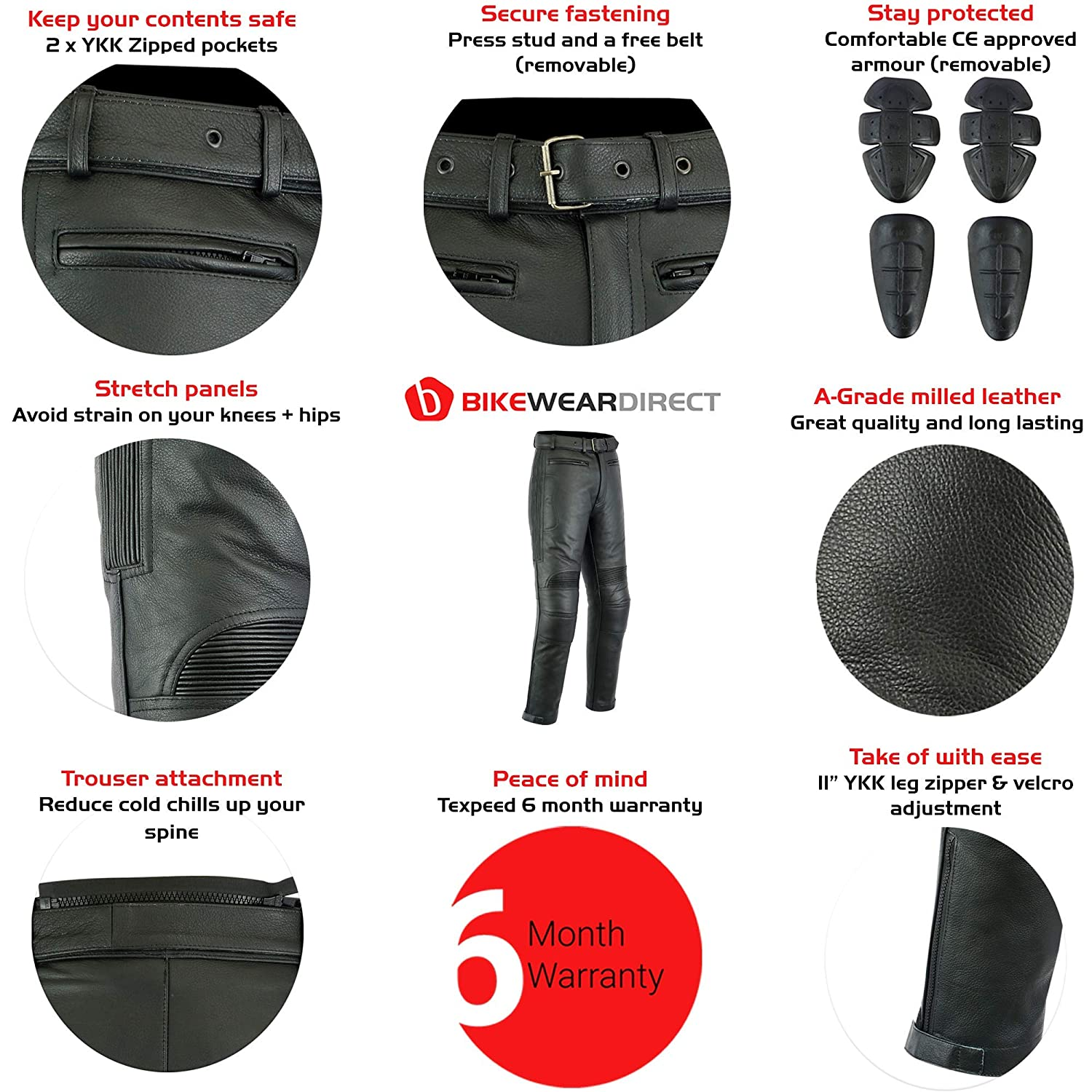 Texpeed Mens Leather Motorcycle Touring Jeans//Trousers With Armour Huge Size Range