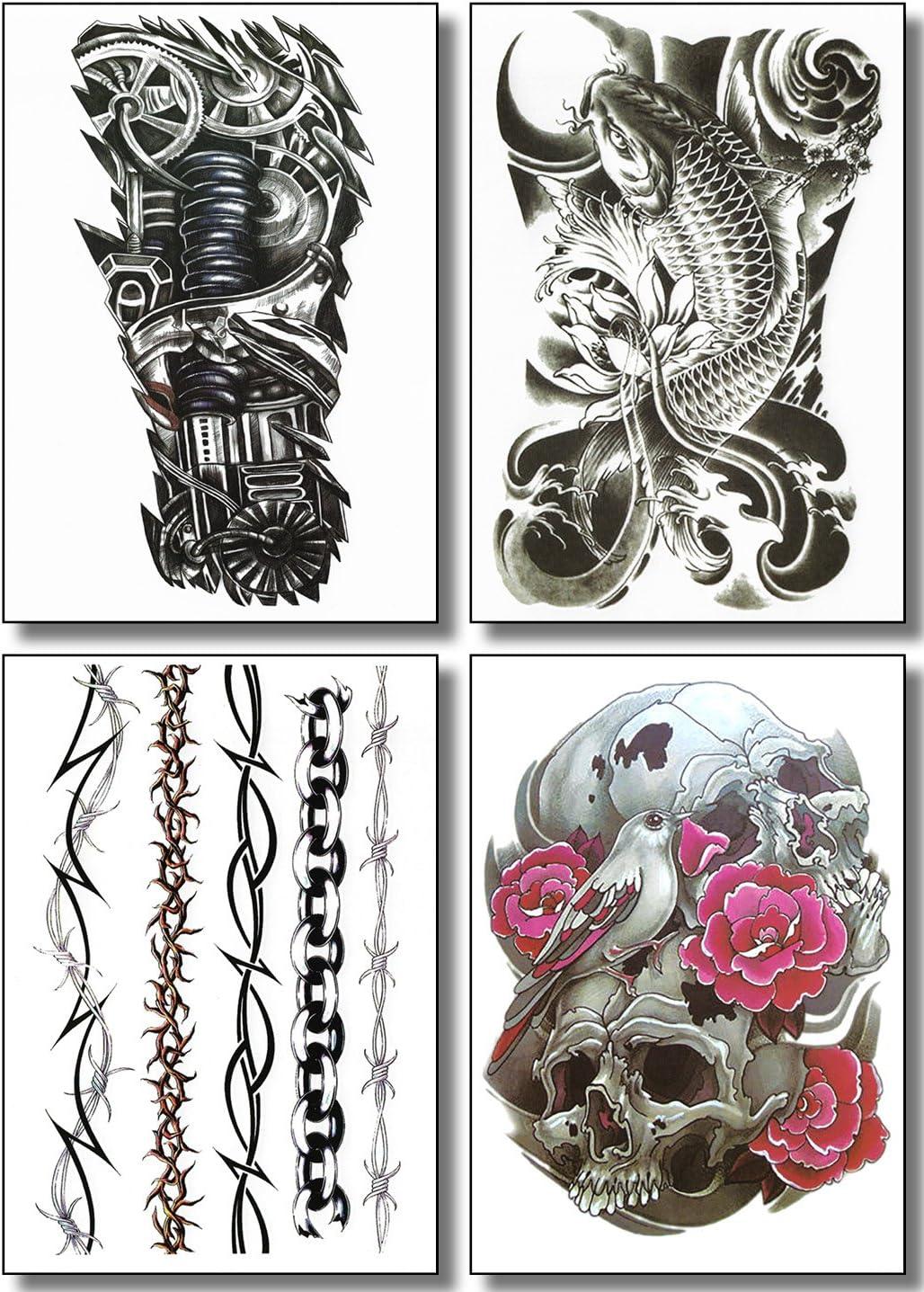 8 hojas de tatuajes temporales para chicos y hombres, diseno ...
