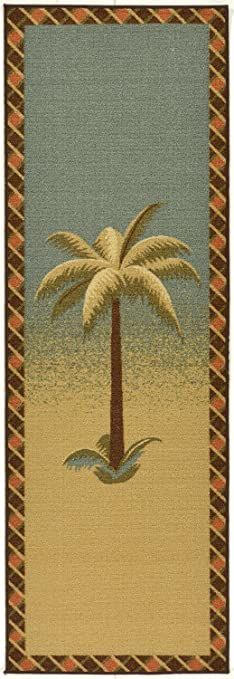 Ottomanson Sarau0027s Kitchen Tropical Palm Tree Design Bathroom Mat Runner Rug  With Non Skid (