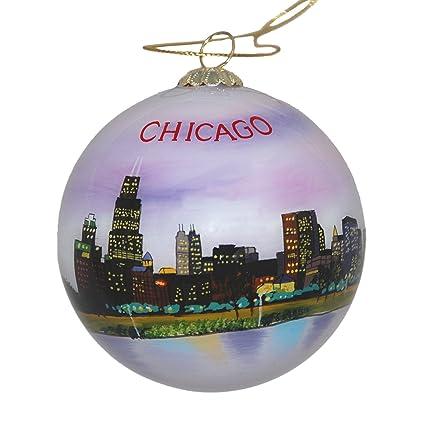 hand painted glass christmas ornament chicago illinois skyline night