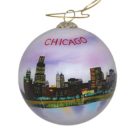hand painted glass christmas ornament chicago illinois skyline night - Chicago Christmas Ornament