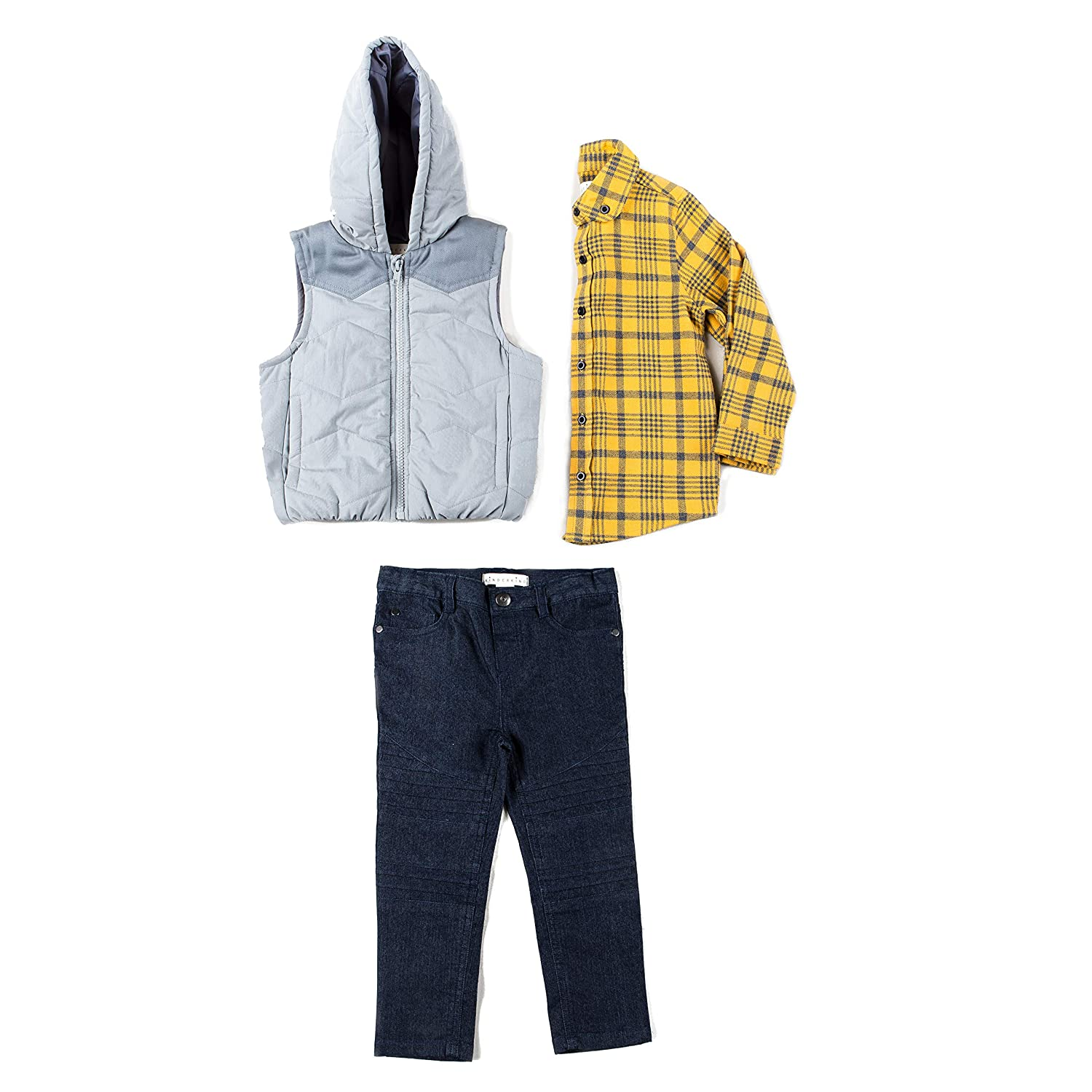Kinderkind Kids Toddler Boy Puffer Vest, Flannel Shirt and Denim Pants Set